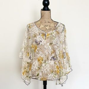 Free People Boho floral lace dolman sleeves top